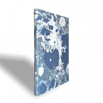 Marbled paper notebook grey, blue, white Susan - Conti Borbone - spine