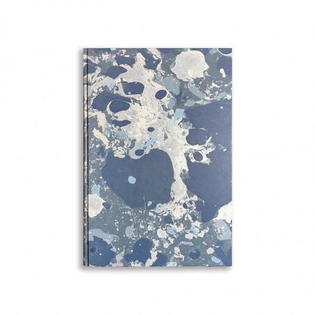 Quaderno in carta marmorizzata a mano bianca blu azzurro Susan - Conti Borbone - fronte