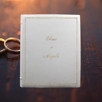 Album foto pelle White - Conti Borbone - Pelle bovina bianca matrimonio - Esempio standard decoro 106 corsivo