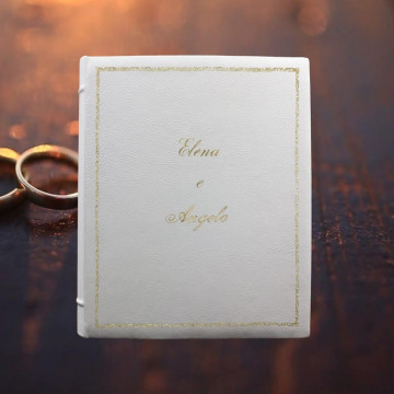 White leather photo album - Conti Borbone - White wedding bovine leather - Example standard decor 106 italic print