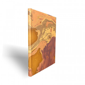 Marbled paper notebook brown, blue, white Bruno - Conti Borbone - Spine