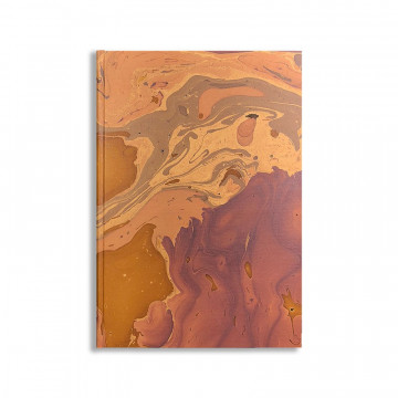 Marbled paper notebook brown, blue, white Bruno - Conti Borbone - Front