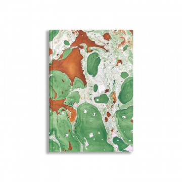 Quaderno in carta marmorizzata a mano marrone verde bianco Veronica - Conti Borbone - fronte