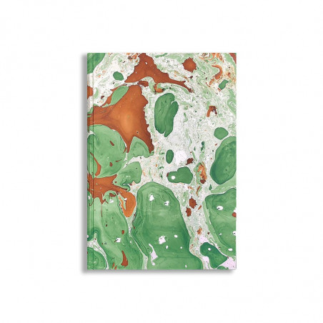 Marbled paper notebook brown, green, white Veronica - Conti Borbone - Front