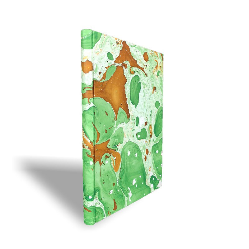 Marbled paper notebook brown, green, white Veronica - Conti Borbone - Spine