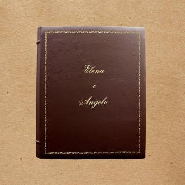 Album foto pelle Nocciolo - Conti Borbone - Pelle bovina marrone - Standard decoro 106 - Corsivo