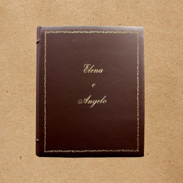 Nocciolo leather photo album - Conti Borbone - Brown bovine leather - Standard - Decor 106 - Italic