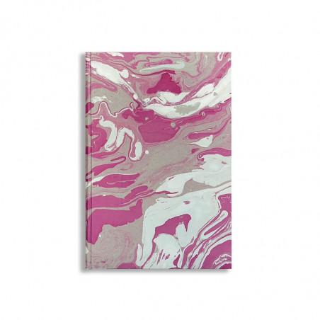 Quaderno in carta marmorizzata a mano viola grigio bianco Violetta - Conti Borbone - fronte