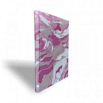 Quaderno in carta marmorizzata a mano viola grigio bianco Violetta - Conti Borbone - dorso
