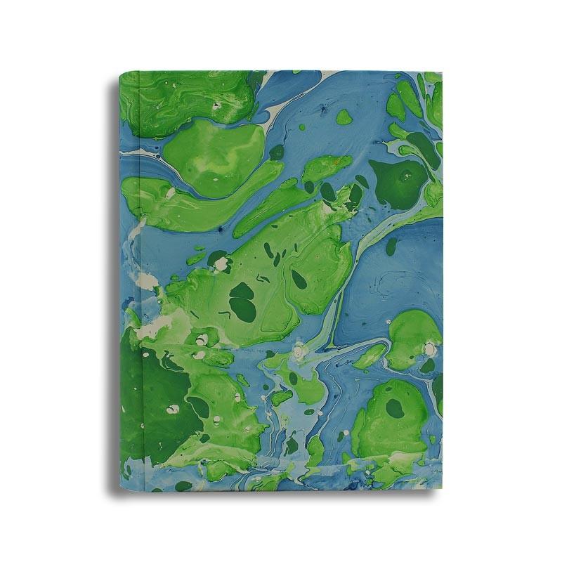 Photo album Fusine in marbled paper green ande blue - Conti Borbone - standard