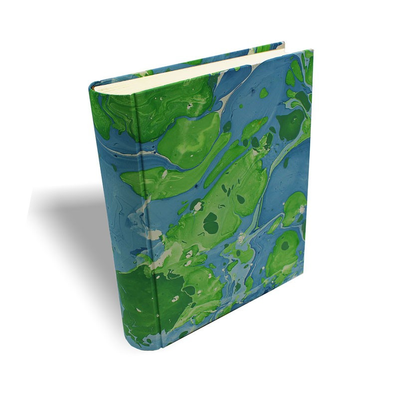Photo album Fusine in marbled paper green ande blue - Conti Borbone - standard - prospective