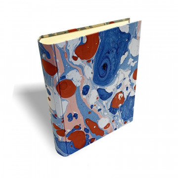 Photo album Anna in marbled paper blue, red and white - Conti Borbone - standard spine