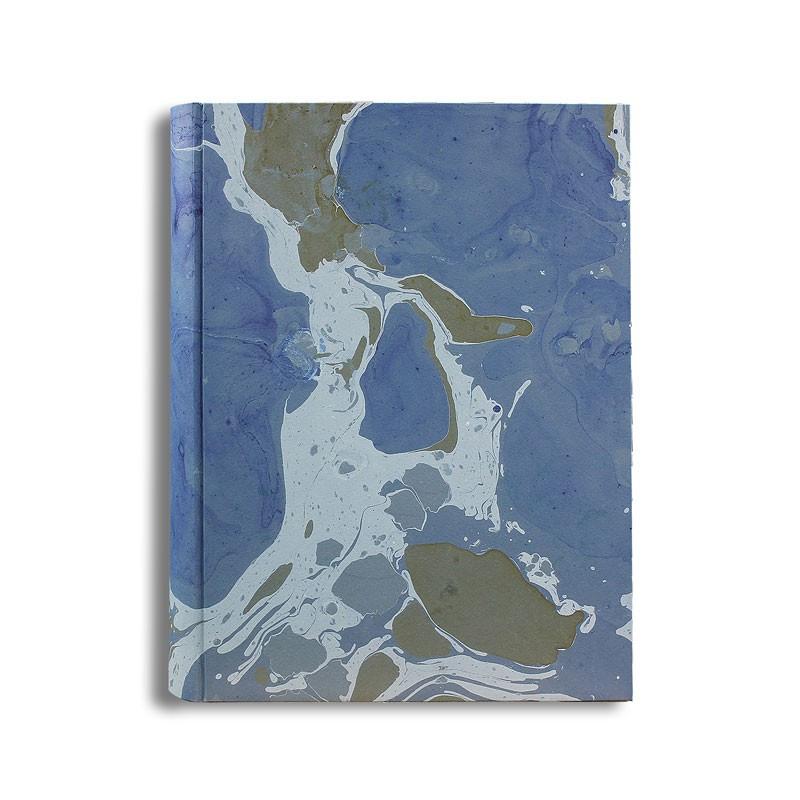 Photo album Isle in marbled paper blue, green and white - Conti Borbone - standard