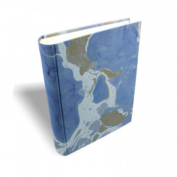 Photo album Isle in marbled paper blue, green and white - Conti Borbone - standard spine