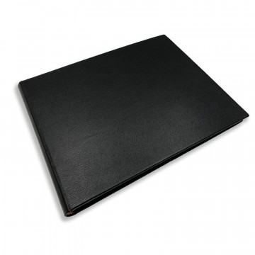 Luxury black saffiano leather guest book - Conti Borbone - perspective