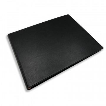 Luxury black saffiano leather guest book - Conti Borbone - perspective