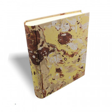 Photo album Jerome in marbled paper brown, beige, yellow and white - Conti Borbone - standard spine