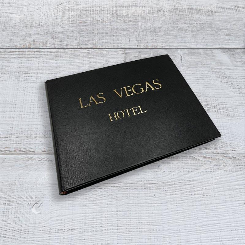 Luxury black saffiano leather guest book - Conti Borbone - sample