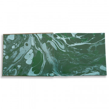 Luxury green saffiano leather guest book Forest - Conti Borbone - end papers
