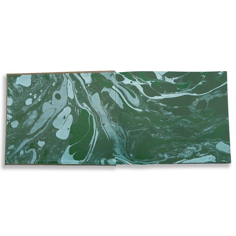 Lussuoso libro ospiti Forest in pelle saffiano verde - Conti Borbone - risguardi