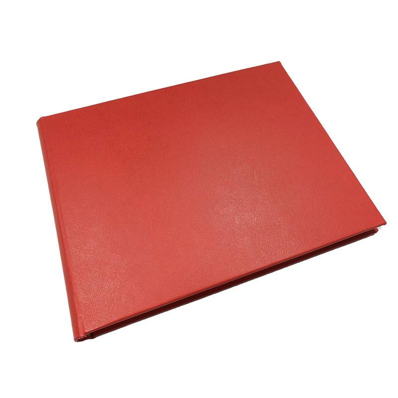 Lussuoso libro ospiti Sun in pelle saffiano rosso - Conti Borbone - prospettiva