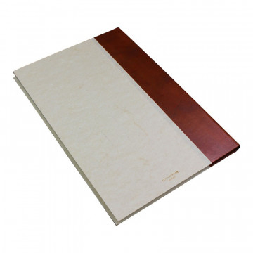 Ancient Brown guest book in half brown leather and antique parchment paper - Conti Borbone - Brand