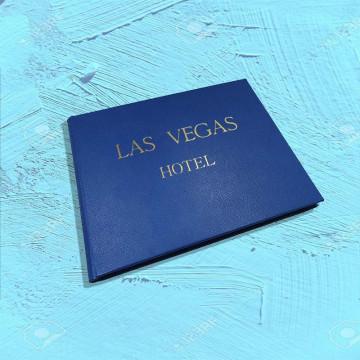 Luxury blue saffiano leather guest book Ocean - Conti Borbone - sample