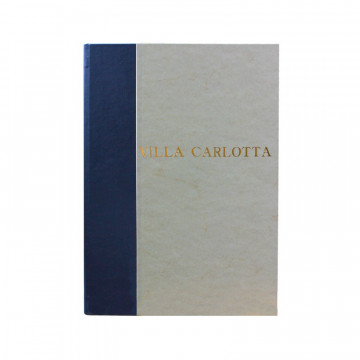Navy guest book in blue leather and antique parchment paper - Conti Borbone - Block letters