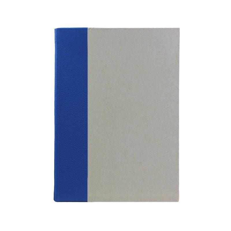 Libro ospiti Cobalto in mezza pelle azzurro e carta pergamena antichizzata - Conti Borbone