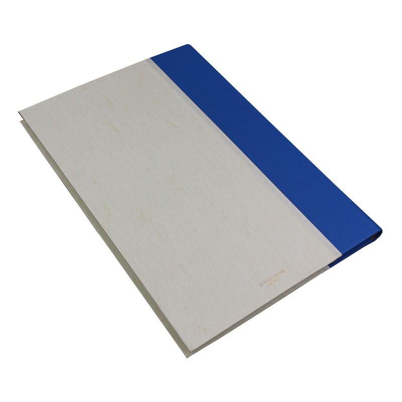 Libro ospiti Cobalto in mezza pelle azzurro e carta pergamena antichizzata - Conti Borbone - Brand
