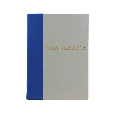 Libro ospiti Cobalto in mezza pelle azzurro e carta pergamena antichizzata - Conti Borbone - Stampatello