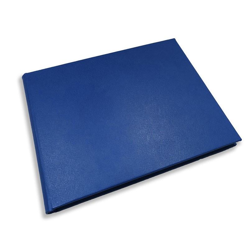 Luxury blue saffiano leather guest book Ocean - Conti Borbone - Perspective