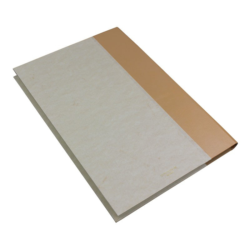 Beige guest book in beige leather and antique parchment paper - Conti Borbone - Brand
