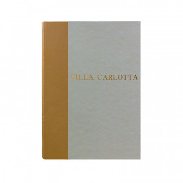 Beige guest book in beige leather and antique parchment paper - Conti Borbone - Block letters