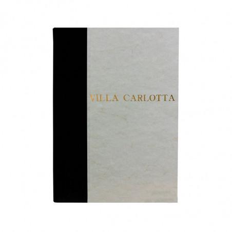 Libro ospiti Dark in mezza pelle nero e carta pergamena antichizzata - Conti Borbone - Stampatello