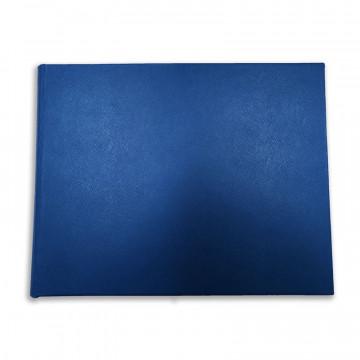 Luxury blue saffiano leather guest book Ocean - Conti Borbone - front