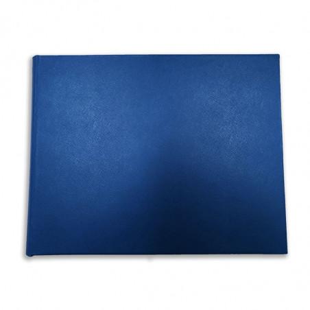 Lussuoso libro ospiti Ocean in pelle saffiano blu - Conti Borbone - fronte