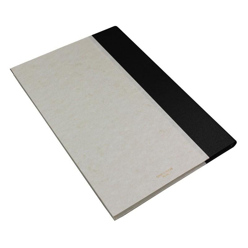 Libro ospiti Dark in mezza pelle nero e carta pergamena antichizzata - Conti Borbone - Brand