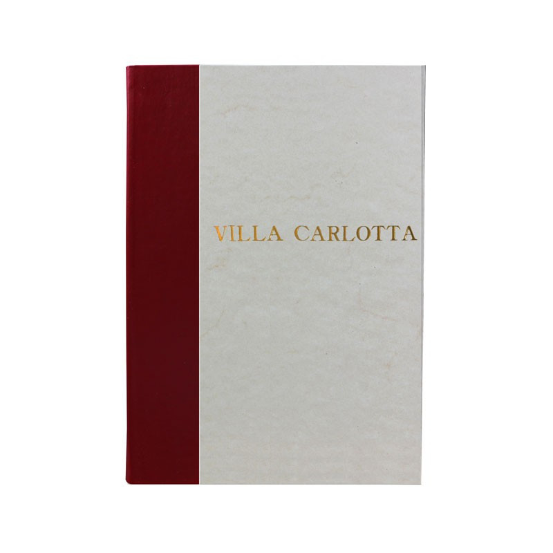 Rubino guest book in bordeaux leather and antique parchment paper - Conti Borbone - Block letters