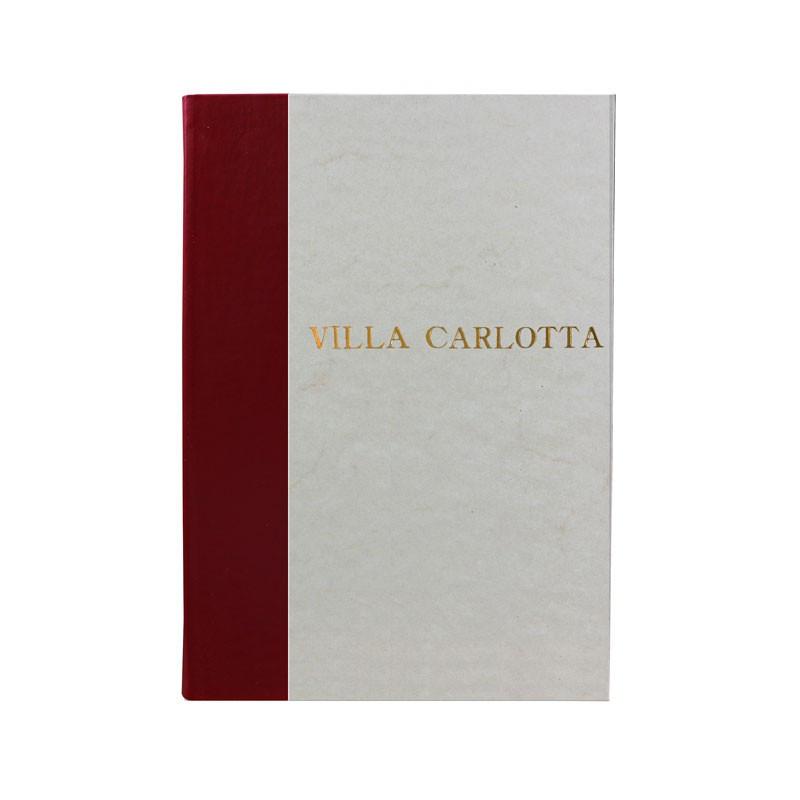 Libro ospiti Rubino in mezza pelle bordeaux e carta pergamena antichizzata - Conti Borbone - Stampatello