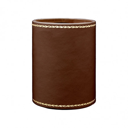 Cuoio leather pen holder - Conti Borbone - Pen holder in brown calf leather, gold print 90