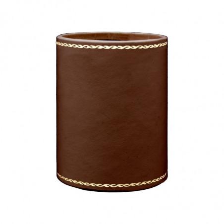 Portapenne in pelle cuoio - Conti Borbone - porta penne in pelle di vitello marrone stampa oro 90