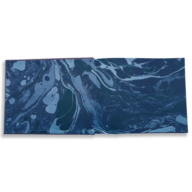Luxury blue saffiano leather guest book Ocean - Conti Borbone - end papers