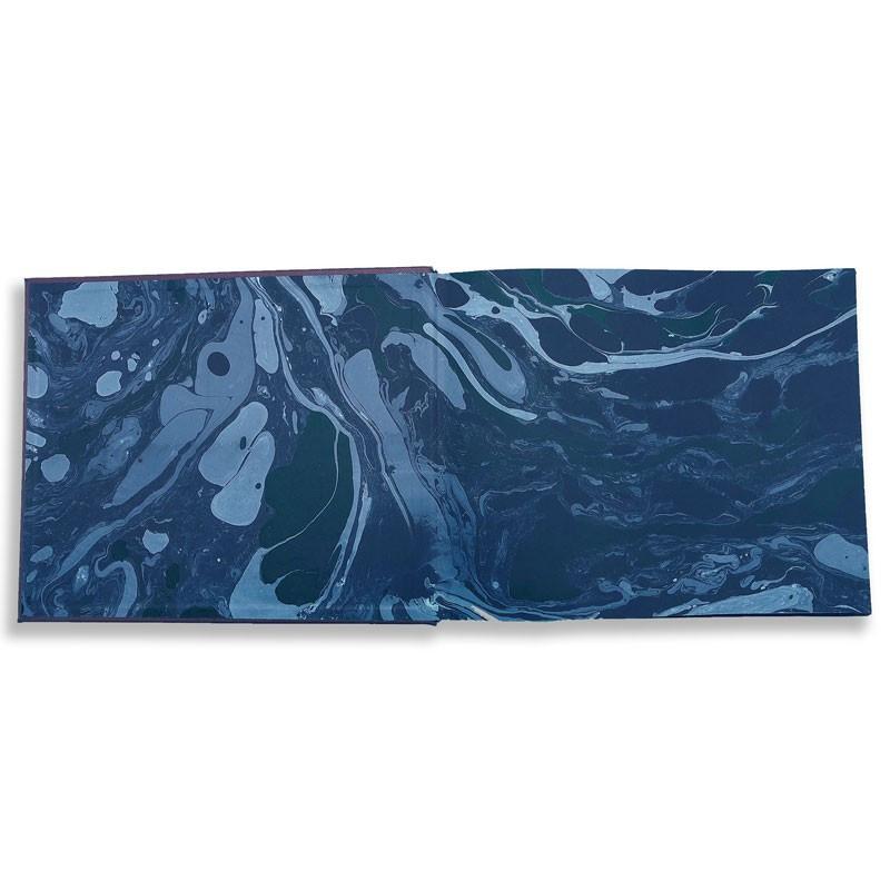 Lussuoso libro ospiti Ocean in pelle saffiano blu - Conti Borbone - risguardi