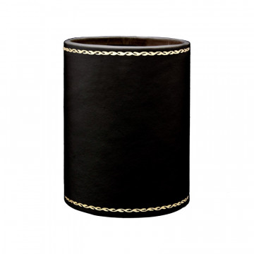 Dark leather pen holder - Conti Borbone - Pen holder in black calf leather, gold print 90