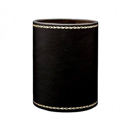 Dark leather pen holder - Conti Borbone - Pen holder in black calf leather, gold print 90