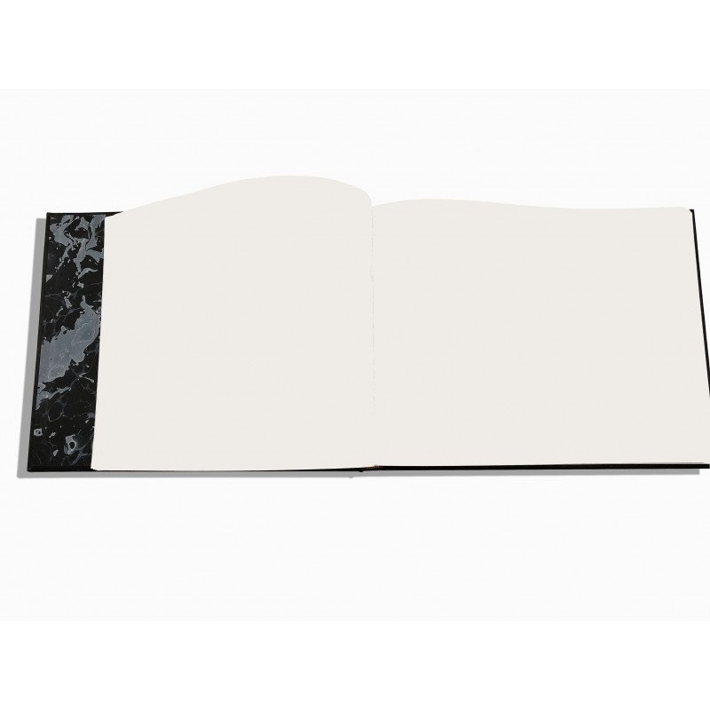 Luxury blue saffiano leather guest book Ocean - Conti Borbone - white papers