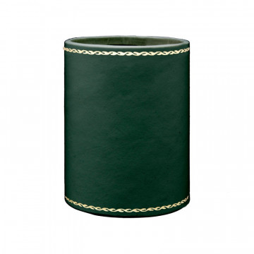 Pino leather pen holder - Conti Borbone - Pen holder in green calf leather, gold decoration 90