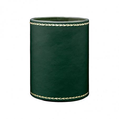 Portapenne in pelle Pino - Conti Borbone - porta penne in pelle di vitello verde stampa oro 90