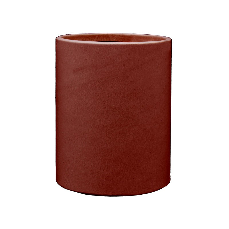 Strawberry red leather pen holder - Conti Borbone - Pen holder in red calf leather
